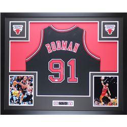 Dennis Rodman Signed Bulls 35x43 Custom Framed Jersey (JSA COA)