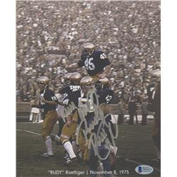 "Rudy Ruettiger Signed Notre Dame Fighting Irish ""Carried Off the Field"" 8x10 Photo Inscribed ""Never"