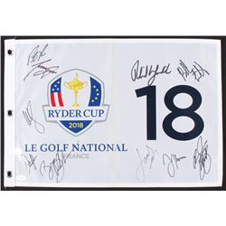 2018 Ryder Cup Golf Pin Flag Signed by (10) with Patrick Reed, Tony Finau, Webb Simpson, Rickie Fowl