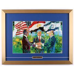 """Leroy Neiman Jimmy Carter """"Mideast Peace"""" 17x22 Custom Framed Photo"""