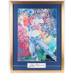 "LeRoy Neiman Signed ""Roger Staubach"" 26x34 Custom Framed Print Display (PSA COA)"