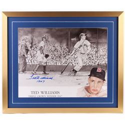 Ted Williams Signed Red Sox 24x28 Custom Framed Photo Display Inscribed  1947  (Williams COA)