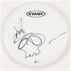 """Jason Newsted Signed 10"""" Drum Head With Hand-Drawn Sketch (Beckett COA)"""