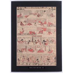 "1938 Original ""Silly Symphony"" Disney Comic Strip 18x25 Custom Matted Display"