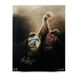 """Larry Johnson Signed Hornets """"Battle"""" 16x20 Photo (UDA COA)"""