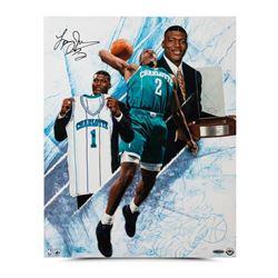 """Larry Johnson Signed Hornets """"NO. 1"""" 16x20 Photo (UDA COA)"""