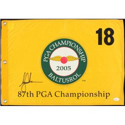 Tiger Woods Signed 2005 Baltusrol PGA Championship Pin Flag (JSA LOA)