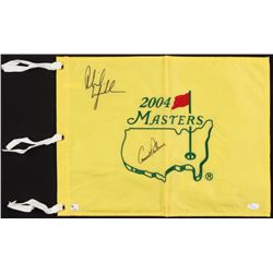 Arnold Palmer  Phil Mickelson Signed 2004 Masters Pin Flag (JSA LOA)