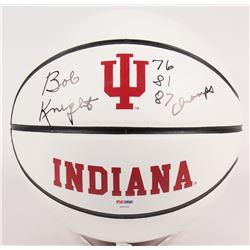"Bob Knight Signed Indiana Hoosiers Logo Basketball Inscribed ""76, 81, 87 Champs"" (PSA COA)"