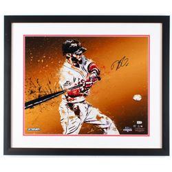 Dustin Pedroia Signed Red Sox 22x26 Custom Framed Photo Display (Steiner COA  MLB Hologram)