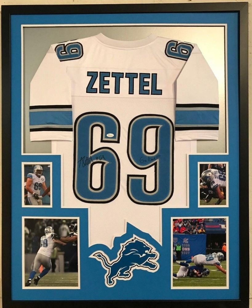 cheap for discount 87973 5e365 Anthony Zettel Signed Lions 34x42 Custom Framed Jersey ...