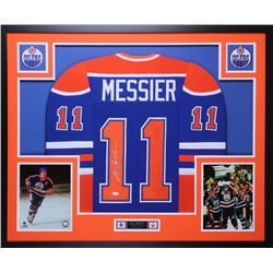 Mark Messier Signed Oilers 35x43 Custom Framed Jersey Display (JSA COA)