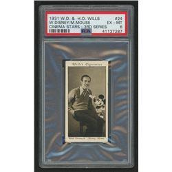 "1931 Will's ""Cinema Stars"" 3rd Series #24 Walt Disney / Mickey Mouse Tobacco Card (PSA 6)"