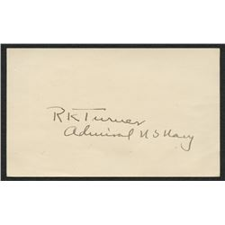 "Richmond Turner Signed 3.5x6.5 Cut Inscribed ""Admiral US Navy"" (JSA COA)"