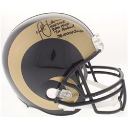 Marshall Faulk Signed Rams Full-Size Helmet with (4) Inscriptions (JSA COA)