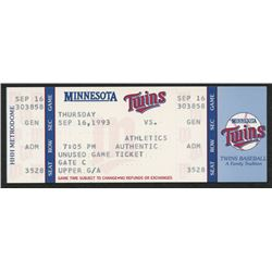 Dave Winfield's 3000th Hit 1993 Twins vs Athletics Original Full Ticket