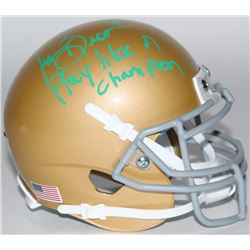 "Tim Brown Signed Notre Dame Fighting Irish Mini-Helmet Inscribed ""Play Like A Champion!"" (Radtke COA"