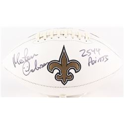 "Morten Andersen Signed Saints Logo Football Inscribed ""2544 Points"" (Radtke COA)"