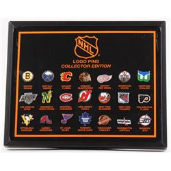 Vintage NHL Team Logo Pins 8.5x10.5 Display Case