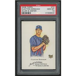 2008 Topps Allen and Ginter #72 Clayton Kershaw RC (PSA 10)
