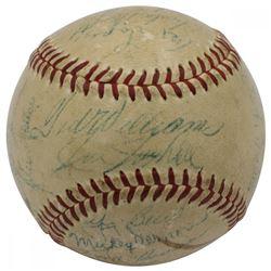1956 AL All-Star Team Baseball Signed by (21) with Ted Williams, Yogi Berra  Mickey Mantle (PSA LOA)