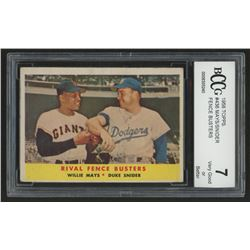 1958 Topps #436 Rival Fence Busters / Willie Mays / Duke Snider (BCCG 7)