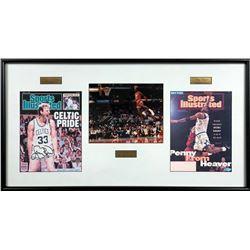 Michael Jordan, Larry Bird  Penny Hardaway Signed 17.25x32.75 Custom Framed Photo Display (UDA Holog