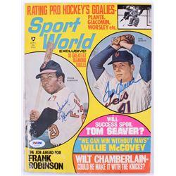 "Frank Robinson  Tom Seaver Signed 1970 ""Sport World"" Magazine (PSA COA)"