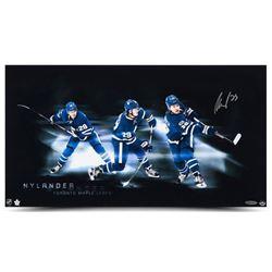 """William Nylander Signed Maple Leafs """"Triple Shot"""" 12x22 Photo (UDA COA)"""