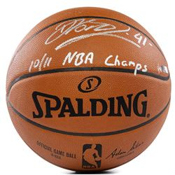 """Dirk Nowitzki Signed LE Official NBA Game Ball Inscribed """"10/11 NBA Champs"""" (Panini COA)"""