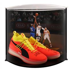 """Deandre Ayton Signed LE Pair of (2) Puma Clyde Court Disrupt Basketball Shoes Inscribed """"Time To Ris"""