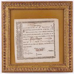 1779 Revolutionary War Bond 11.25x11.25 Custom Framed Display