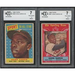 Lot of (2) BCCG 7 Hank Aaron Baseball Cards with 1958 Topps #488 AS (BCCG 7)  1959 Topps #561 AS (BC