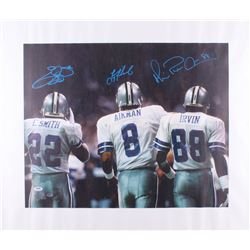 Emmitt Smith, Troy Aikman  Michael Irvin Signed Cowboys 25.5x30.5 Photo On Canvas (PSA Hologram)