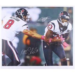 Arian Foster  Matt Schaub Signed Texans 21x24 Photo On Canvas (JSA COA)