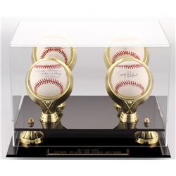 1961 Yankees Infield Lot of (4) Baseball Display Signed by (4) with Moose Skowron, Bobby Richardson,