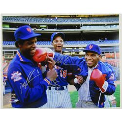 Dwight Gooden, Darryl Strawberry  Mike Tyson Signed Mets 16x20 Photo (JSA Hologram)