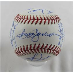 1978 Yankees World Series Logo Baseball Team-Signed by (21) with Reggie Jackson, Roy White, Ron Davi