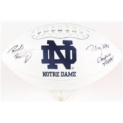 "Rudy Ruettiger Signed Notre Dame Fighting Irish Logo Football Inscribed ""Play Like a Champion Today"""