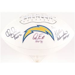 "Kellen Winslow, Charlie Joiner,  Dan Fouts Signed Chargers Logo Football Inscribed ""HOF 95"", ""HOF 96"