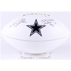 Tyron Smith  Travis Frederick Signed Cowboys Logo Football (JSA COA)