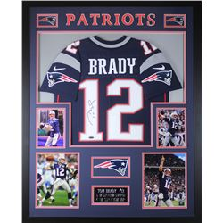 Tom Brady Signed Patriots 35x43 Custom Framed Jersey (TriStar)