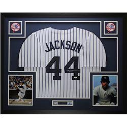 """Reggie Jackson Signed Yankees 35"""" x 43"""" Custom Framed Jersey (JSA COA)"""