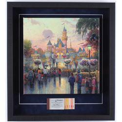 Thomas Kinkade Disneyland 19.5x21.5x2 Custom Framed Print on Canvas Shadowbox Display with Vintage T