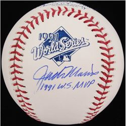 "Jack Morris Signed 1991 World Series Logo Baseball Inscribed ""1991 WS MVP"" (Schwartz COA)"
