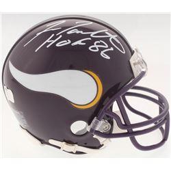 "Fran Tarkenton Signed Vikings Mini Helmet Inscribed ""HOF 86"" (Radtke COA)"
