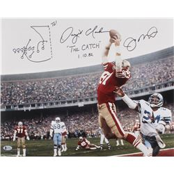 """Joe Montana  Dwight Clark Signed 49ers 16x20 Photo Inscribed """"The Catch""""  """"1.10.82"""" With Hand-Drawn"""