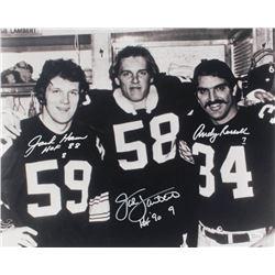 """Jack Ham, Jack Lambert,  Andy Russell Signed Steelers 16x20 Photo Inscribed """"HOF '90""""  """"HOF 88"""" (JSA"""