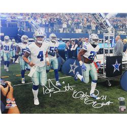 Ezekiel Elliott  Dak Prescott Signed Cowboys 16x20 Photo (Beckett COA  Prescott Hologram)