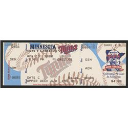 Unused 2000 Twins vs. Orioles Game Ticket